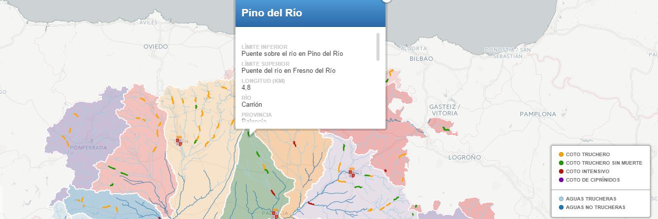 Mapa de cotos de pesca de Castilla y León 2015
