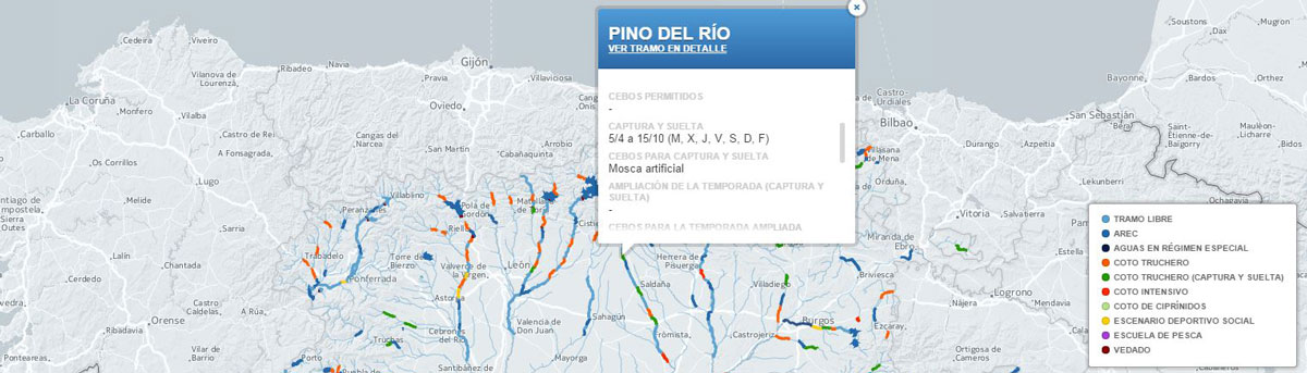 Mapa de pesca de Castilla y Leon 2015