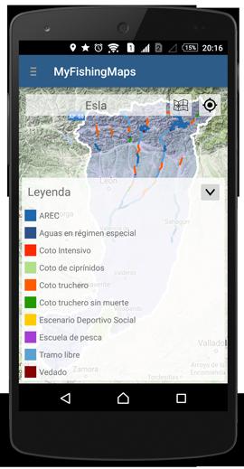 App de pesca - leyenda tramos