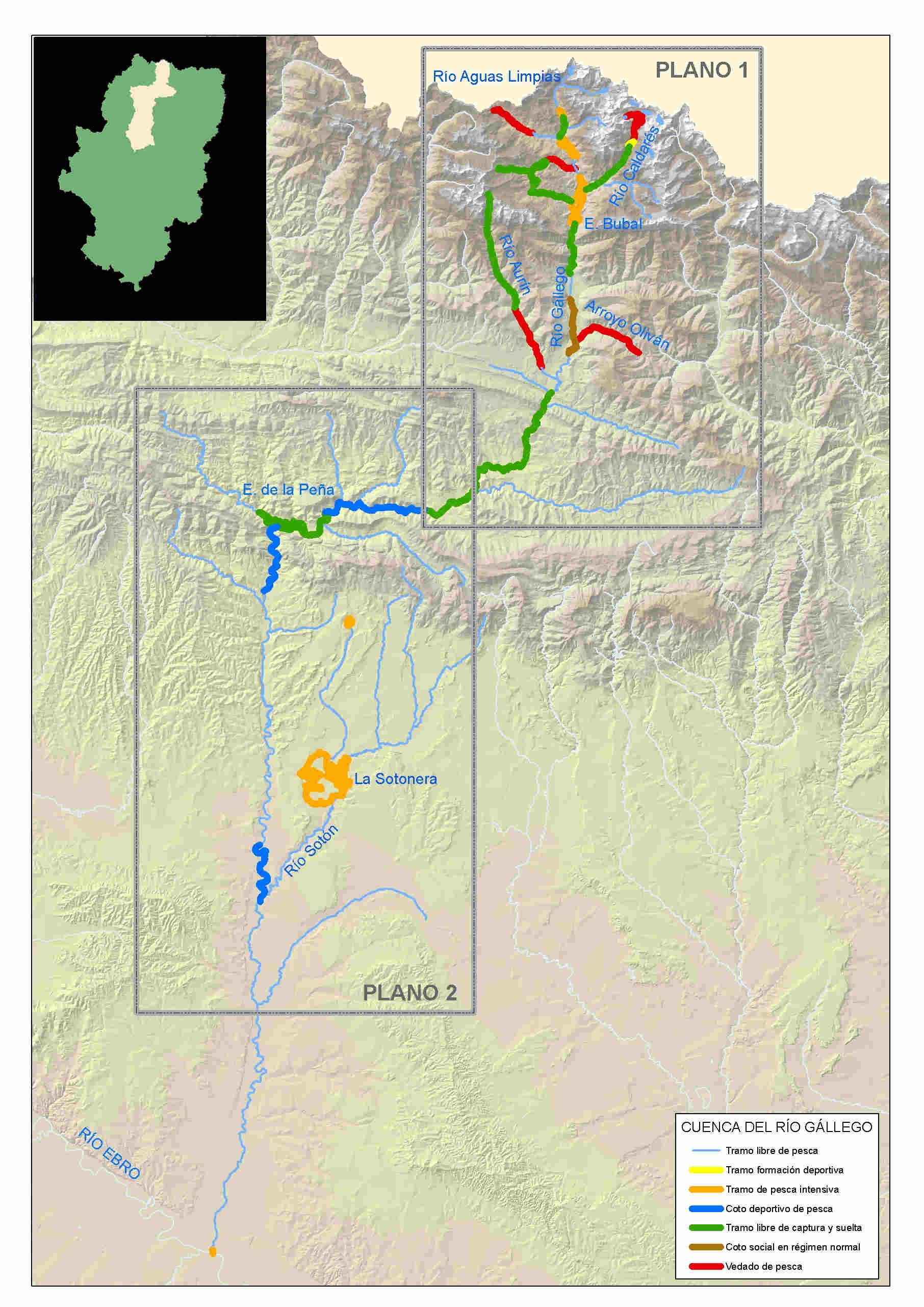 mapa pesca gállego
