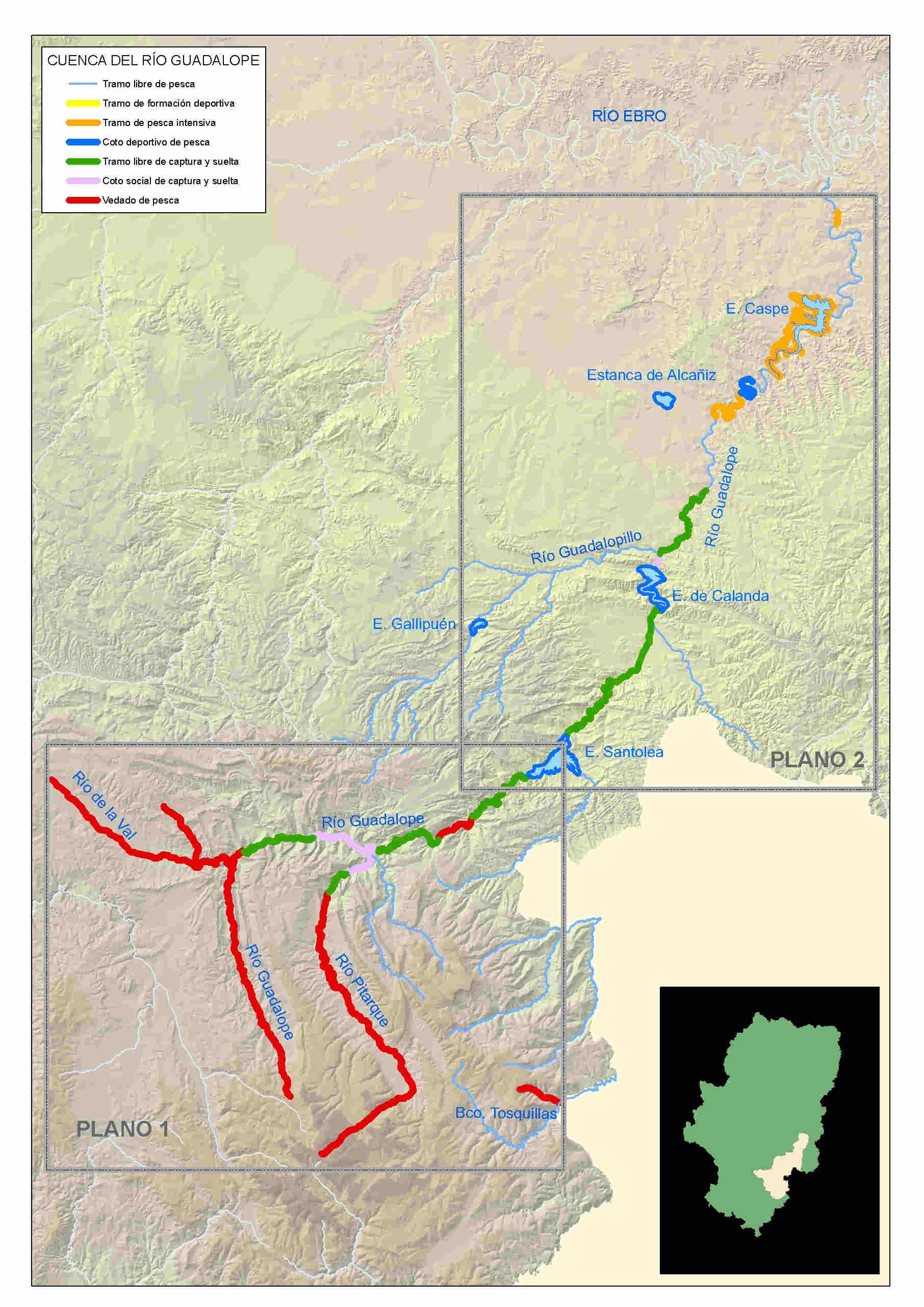 mapa pesca guadalope