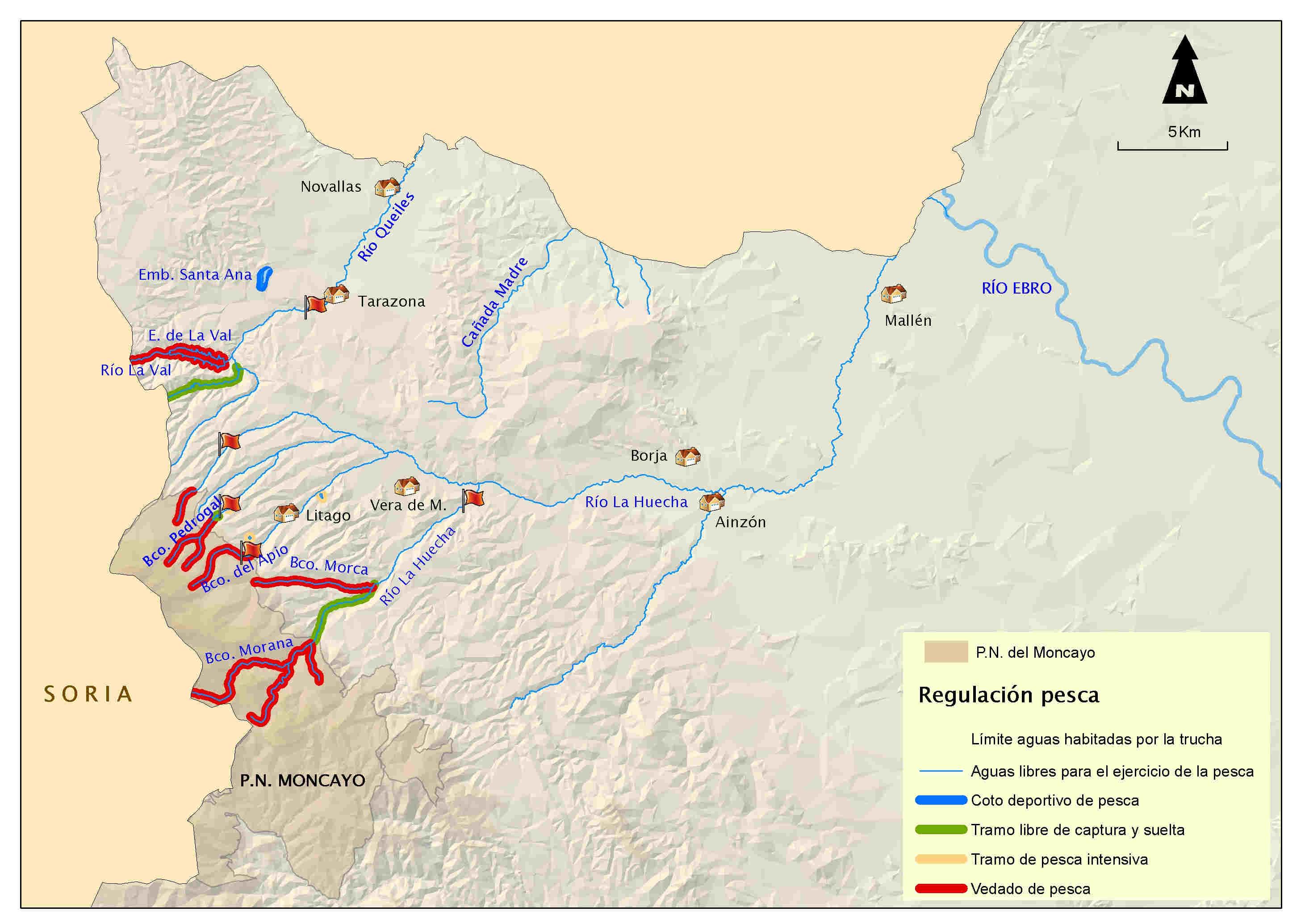 mapa pesca Huecha Queiles