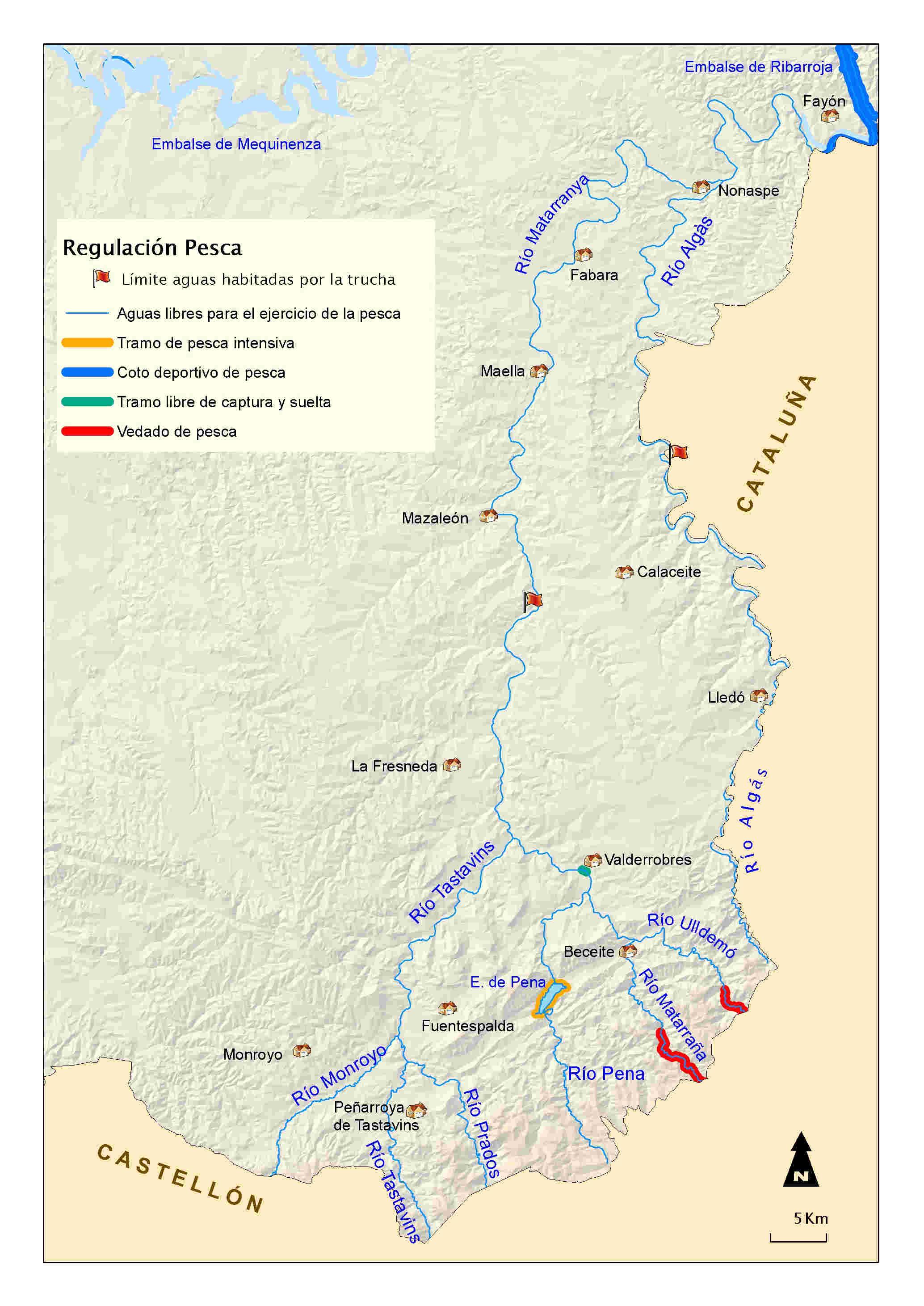 mapa pesca Matarranya