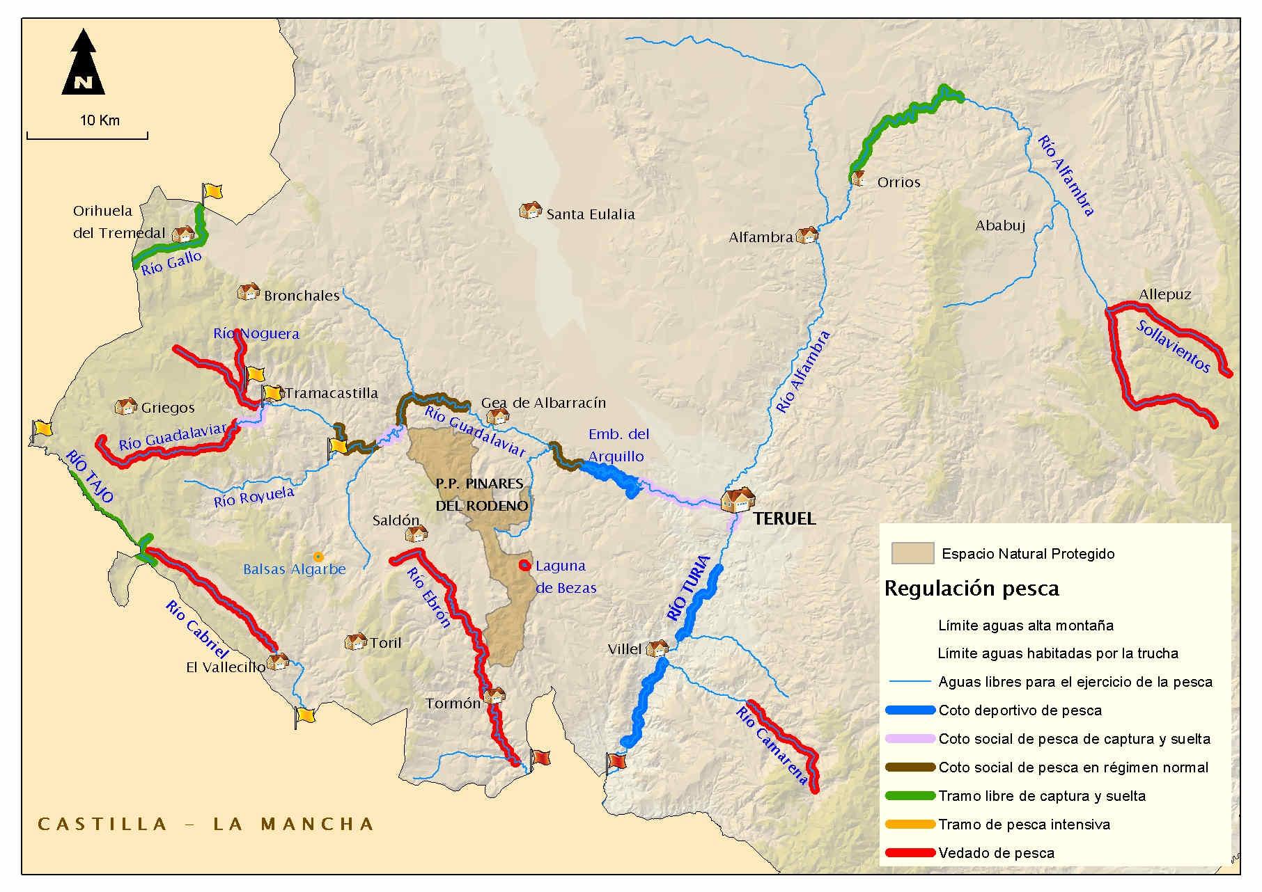 mapa de pesca aragon