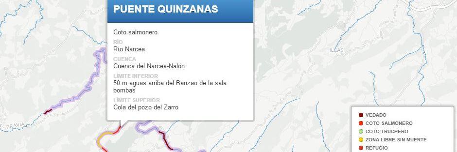 Mapa de pesca de Asturias