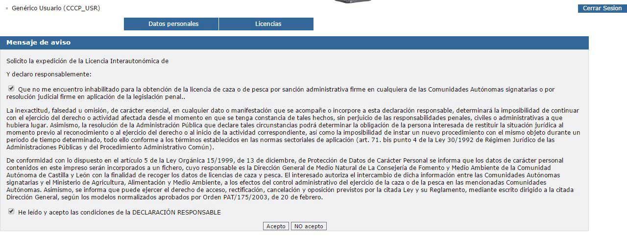 Declaración Licencia Interautonomica