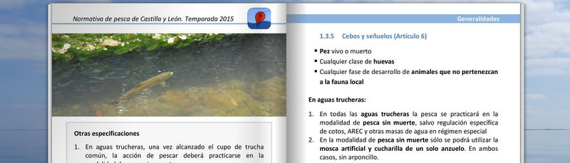 Libreto con la normativa de pesca de CyL 2015