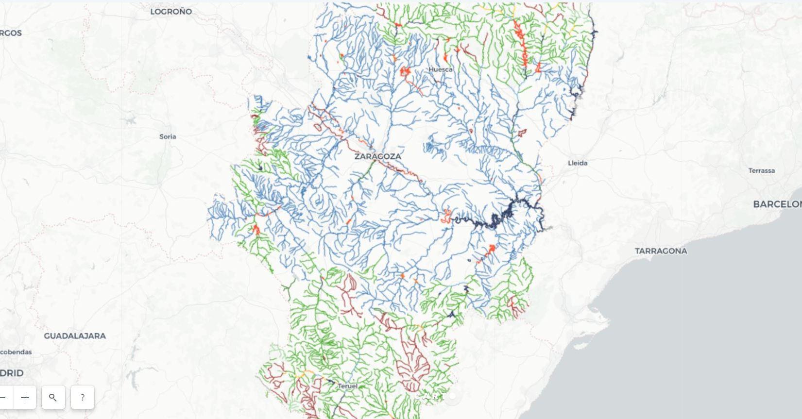 Mapa de pesca de Aragón