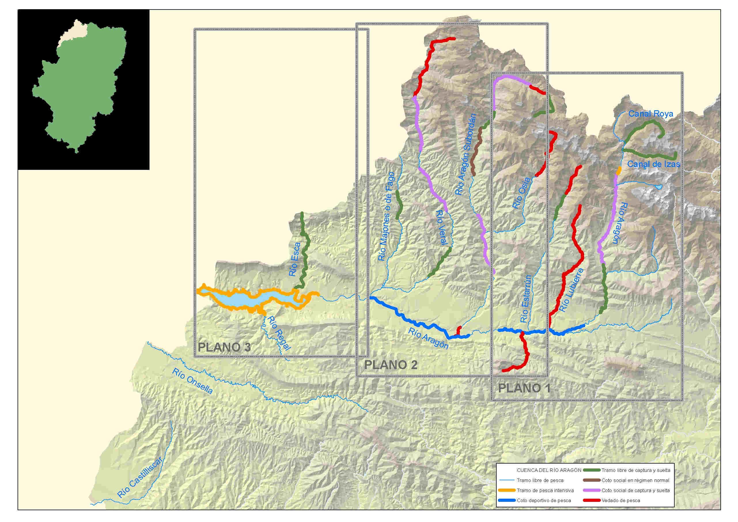 mapa pesca aragón