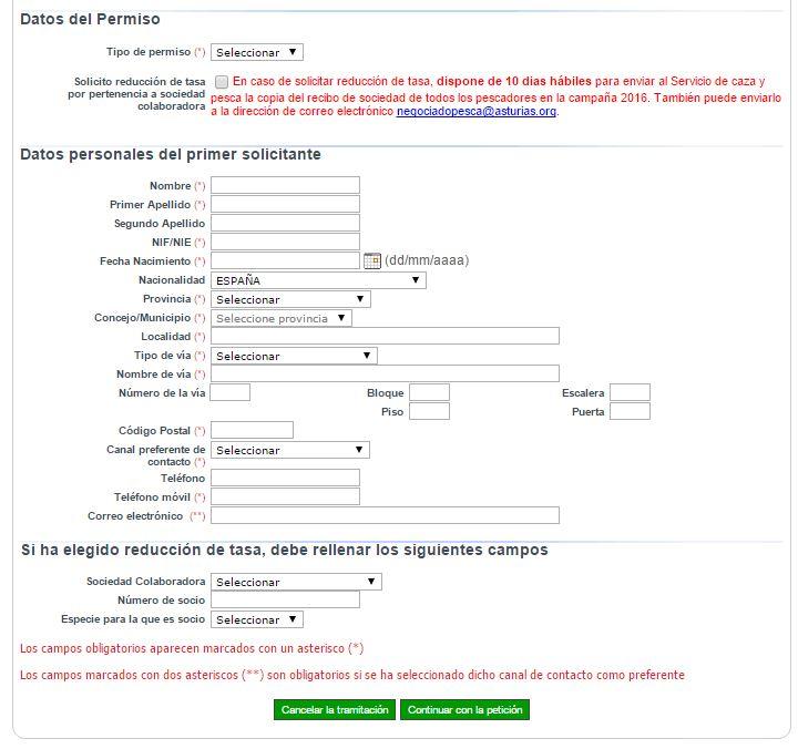 Solicitud de cotos de pesca en Asturias - paso 1