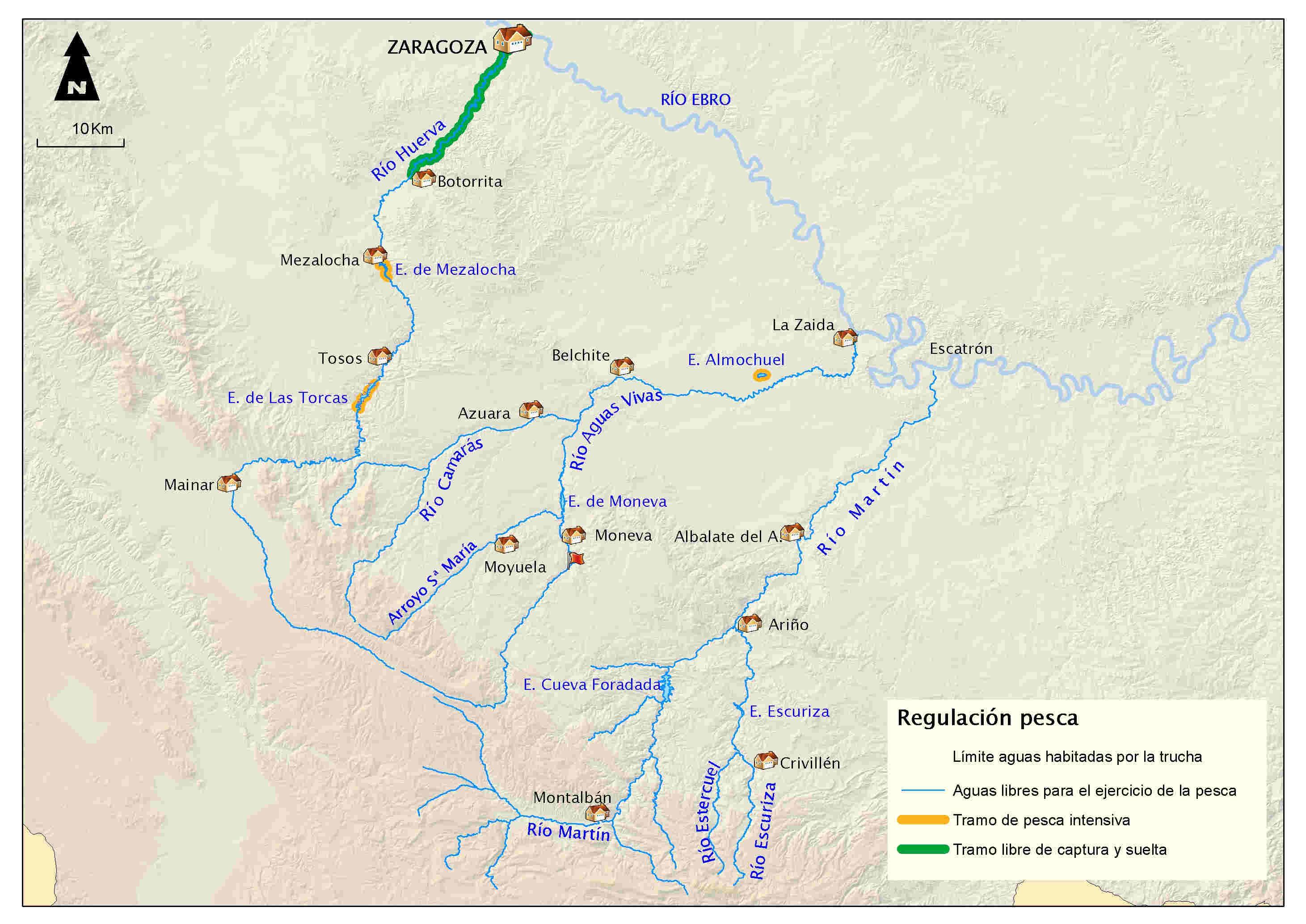 mapa pesca Huerva Aguasvivas Martín