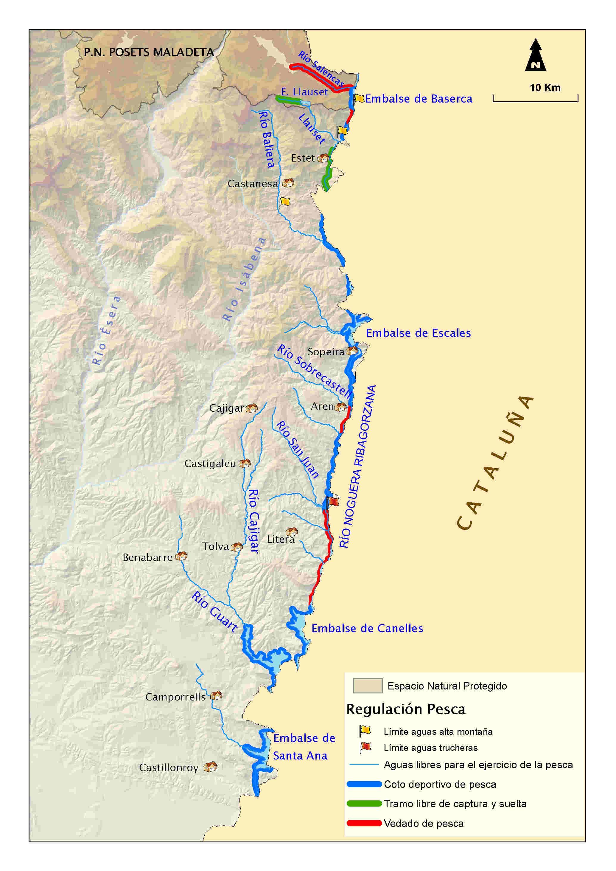 mapa pesca Noguera Ribagorzana