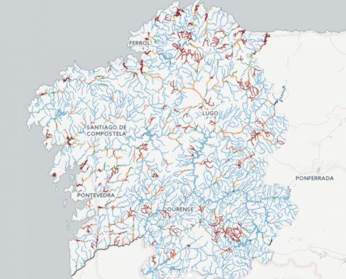 mapa de pesca fluvial de Galicia
