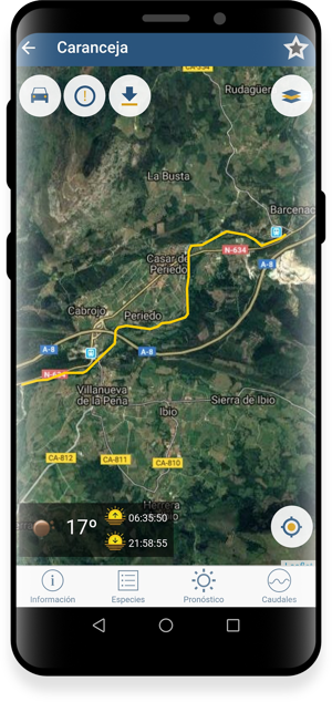 App de pesca - mapa de tramo